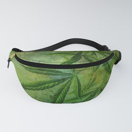 Cannibis Plant Green Grunge Fanny Pack