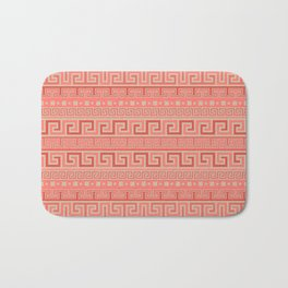 Meander Pattern - Living Coral #1 Bath Mat