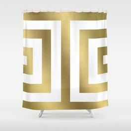 Gold Greek Stripes Shower Curtain
