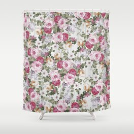 Vintage rustic white wood blush pink floral Shower Curtain
