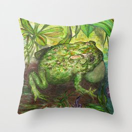 Rain Forest Toad Throw Pillow