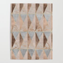 Copper Foil and Blush Rose Gold Marble Triangles Argyle Poster
