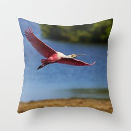The Spoonbill in Flight at Ding Throw Pillow