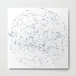 Stars Constellations Map, Astronomy Cosmos, Universe Metal Print