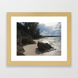 Caribbean Rocky Shore Framed Art Print