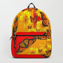 RED ORANGE MONARCH BUTTERFLIES & YELLOW SUNFLOWERS Backpack