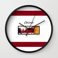 china Wall Clocks featuring China by Luciano Bove