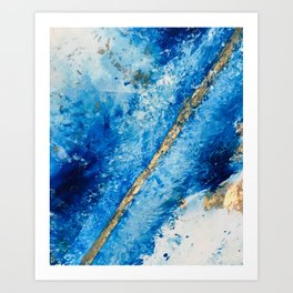 Blue Skies [2]: a pretty, abstract mixed-media piece in blue, gold and white Art Print