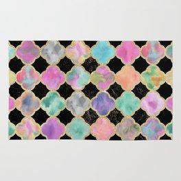 Colorful black watercolor faux gold glitter quatrefoil Rug