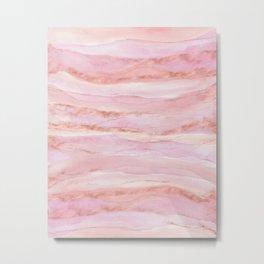 Watercolor Layers Rose Gold Metal Print