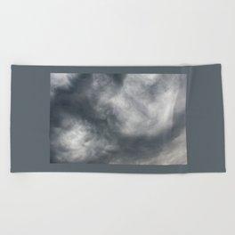 Gloomy billowy sky stormy weather Beach Towel