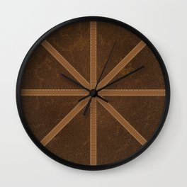 Digitial Faux Brown Leather and Union Jack Cross Design Wall Clock