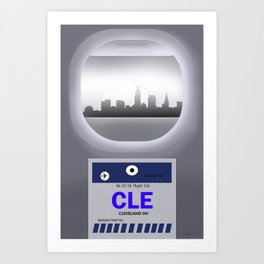 Cleveland - CLE -Airport Code & Skyline Art Print