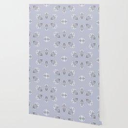Silver Wildflowers Wallpaper