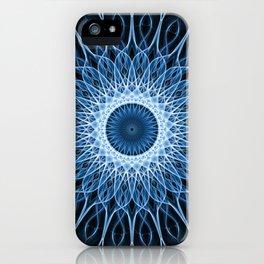 Bright blue and white mandala iPhone Case