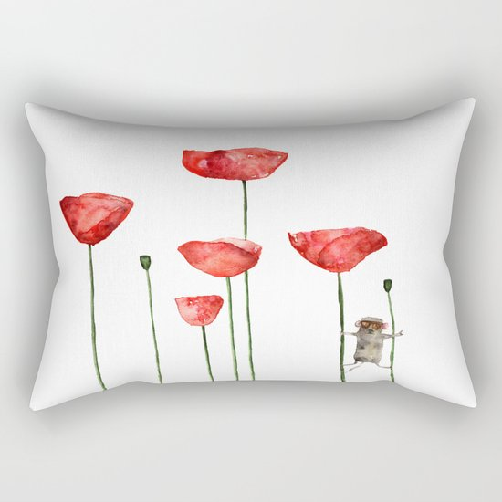 Little mouse loves big poppies  Rectangular Pillow