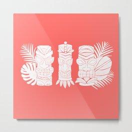 Tiki Party - White on Coral Metal Print