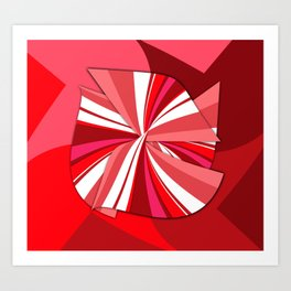 striped red bow Art Print
