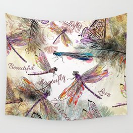 Boho Watercolor Dragonflies Wall Tapestry