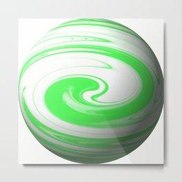 Lime Green & Milky White Sphere Metal Print