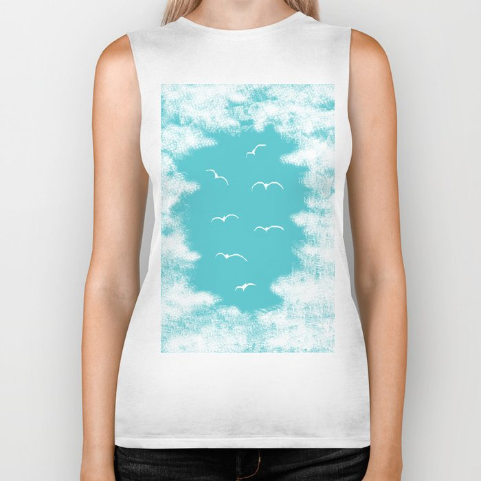 Seabirds and Clouds Biker Tank