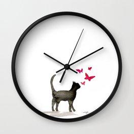 I Love Cats No. 3 by Kathy Morton Stanion Wall Clock
