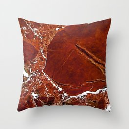 Red Marble Art Throw Pillow
