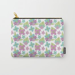 Teal and purple flowers with green leaves on a white background Carry-All Pouch