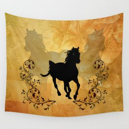 Wonderful black horse silhouette Wall Tapestry