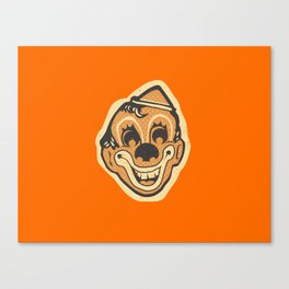 Retro Creepy Halloween Clown Face Mask Canvas Print