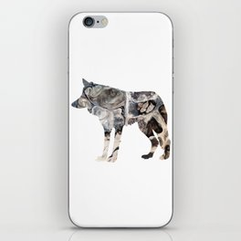 Gray Abstract Fluid Art Wolf Image iPhone Skin