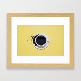 Black Cup of Coffee with Coffee Beans on Yellow Framed Art Print