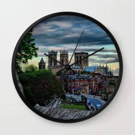 York Walls leading to York Minster at Sunset  Wall Clock