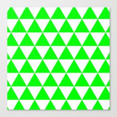 Triangles (Green/White) Canvas Print