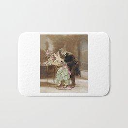 """""""Chats amoureux 1900, interrogeons les fleurs"""" / """"Cats in love 1900, question the flowers"""" Bath Mat"""