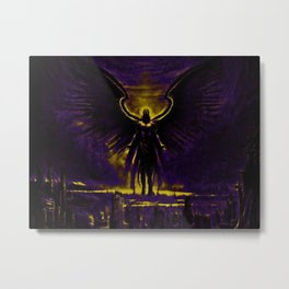 Angelic Guardian Yellow Purple Metal Print