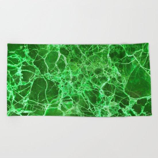 Emerald green marble Beach Towel