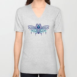 Death's Head Hawkmoth – Navy & Turquoise Palette Unisex V-Neck
