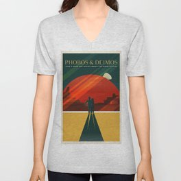 SpaceX Travel Poster: Phobos and Deimos, Moons of Mars Unisex V-Neck