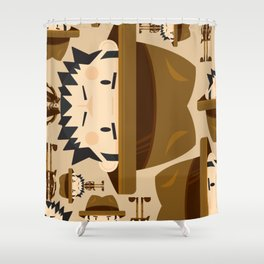 Cute Cartoon Safari Explorer Pattern Shower Curtain