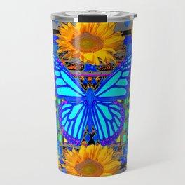 Black Grey Sunflowers Blue Butterflies Pattern Travel Mug