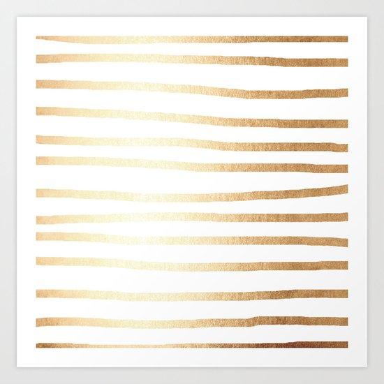 Simply Drawn Stripes Golden Copper Sun Art Print