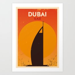 Vintage Dubai Poster Art Print