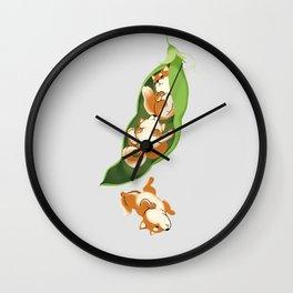 Peapod Shiba Inu in Grey Wall Clock