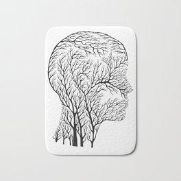 Head Profile Branches - Black Bath Mat