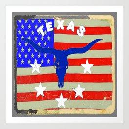 Western Patriotic Texas Longhorn Logo Pattern Art Art Print