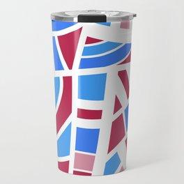 Broken Pink And Blue Abstract Travel Mug