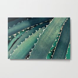 Abstract Botanical in Teal and Emerald Metal Print