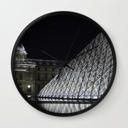 Louvre at night - landscape Wall Clock