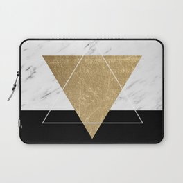 Golden marble deco geometric Laptop Sleeve